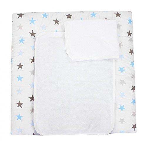 TupTam Wickelauflage inkl. 2 Frotteebezüge, Farbe: Sterne Grau/Blau, Größe: 75 x 80 cm