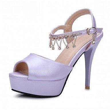 LvYuan Da donna Sandali Finta pelle PU (Poliuretano) Estate Autunno Footing Fibbia Quadrato Bianco Beige Viola Blu Rosa 10 - 12 cm beige