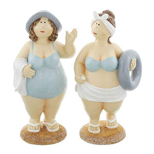 Stranddame 2er Set mollige Frau im Badeanzug Dicke Badenixe Sommerdekofigur Lady Rubens Maritimdekofigur Schwimmerinfigur Figur Frau