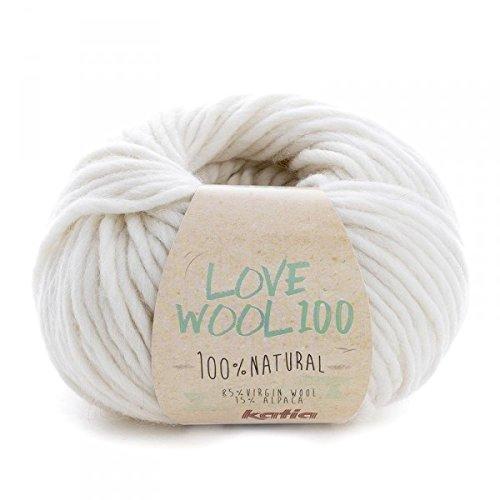 Katia love wool 100, colore crema (201), lana con alpaca per lavoro a maglia e uncinetto per ferri da 7 - 9 mm, 100 grammi circa 100 metri di lana alpaca
