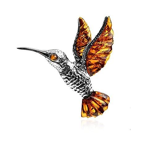 Pendentif en Argent Sterling 925Motif colibri Ambre