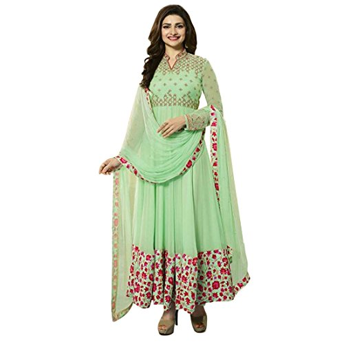 Ethnic Empire Women\'s Georgette Anarkali Salwar Suit Set (Ethnic_Er10218_Green_Free Size)