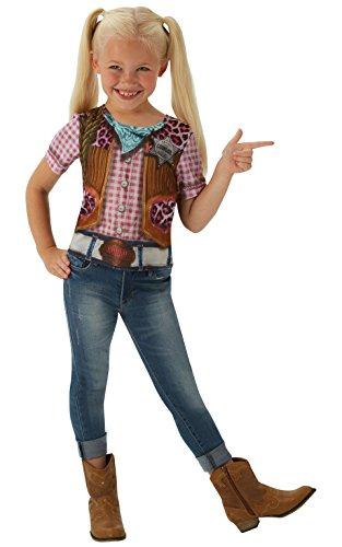 Cowgirl T-Shirt - Kinder Kostüm - Groß - 128cm - Alter 7-8 (Kinder Für Cowgirl-outfits)