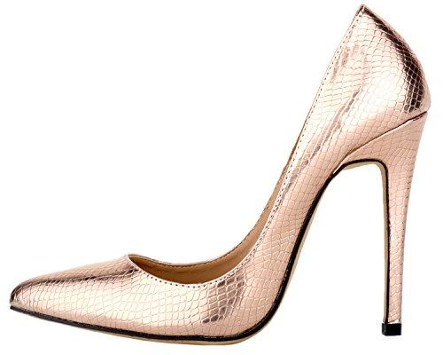 HooH Femmes Motif Alligator Pointu Elegance Escarpins Champagne