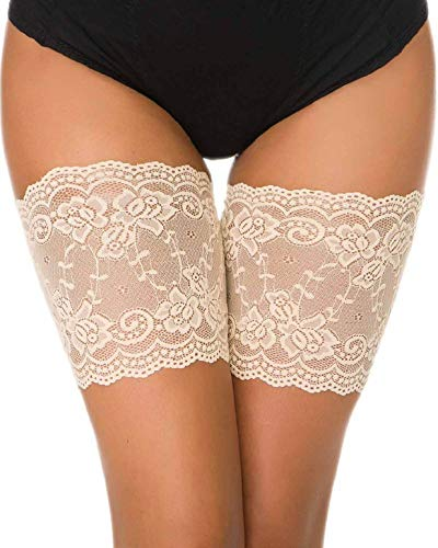 Elastische Damen Socken (heekpek Damen Anti Chafing Bands Thigh Bands Lace Oberschender Socke Elastische Oberschenkelbänder Bänder Socke Anti-Scheuern (Beige, A: 48-53cm (19