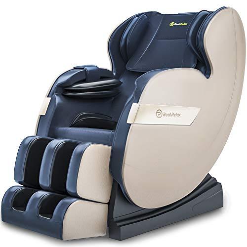 Real Relax 2020 Massagesessel, Zero Gravity für Ganzkörper mit Heizung und Fußrollen Bluetooth und LED-Licht