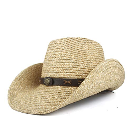 Party Travel Kostüm Time - PANFU-DY Western Cowboyhüte Männer Frauen Sommer Stroh Cowgirl Party Kostüm Crimpen Western Hut Sombrero Hombre Cowboyhüte for Männer (Farbe : Khaki, Größe : 56-58)