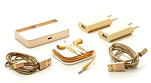 iProtect 6 in 1 Mega Zubehör Set mit Dockingstation + In-Ear Stereo Kopfhörer + 2 x USB Lightning Ladekabel + 2 x Slim Charger für Apple iPhone 5 5s 5c 6 6s Plus, iPod Touch 5G 6, iPod Nano 7G - in gold