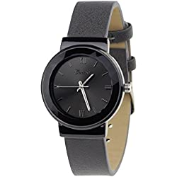 Geneva Japanese Movement Stainless Steel Back Casual Gray Faux Leather Strap Watch
