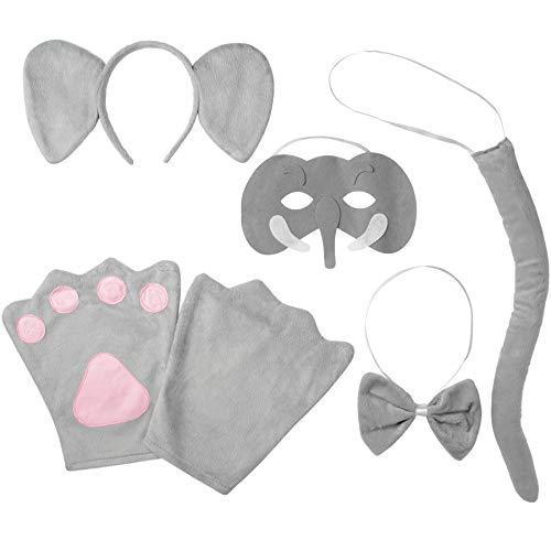 Elefanten Kinder Kostüm - dressforfun 302035 - Kostüm Set Elefant für Kinder, Haarreif mit Ohren, Maske, Handschuhe, Fliege und Schwanz