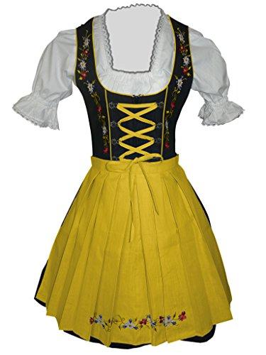 Di06gs Mini Dirndl, 3 Teiliges Trachtenkleid in Schwarz Gelb, Kleid mit Bluse und Schürze, Rocklänge 47-58 cm, Gr. 48
