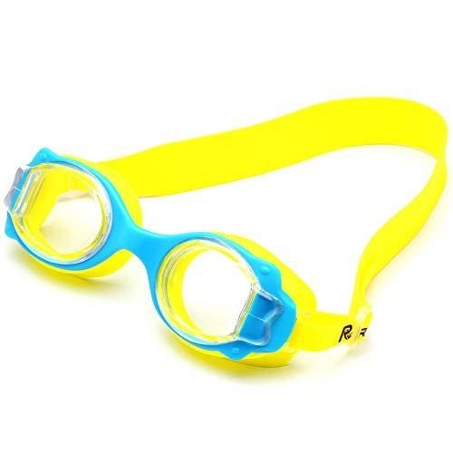 MRENF Schwimmbrillen für Erwachsene Kinder,Schwimmbrille wasserdicht und Anti-Fog-Kinder High-End-Cartoon-Brille, gelb
