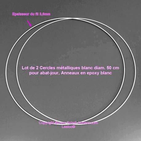 Lote de 2 círculos metálicos de Color Blanco. 50 cm para Pantalla de lámpara, Anillas epoxi Blancas, atrapasueños