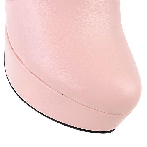 VogueZone009 Femme à Talon Haut Haut Bas Fermeture D'Orteil Zip Bottes Rose