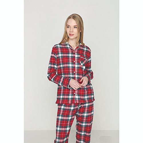 YTNGA Pyjamas Herbst und Winter Frauen Stoff Plaid Pyjama Set Thermal Baumwolle Nachtwäsche Thermal, rot kariert, L