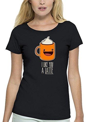Valentinstag Premium Damen T-Shirt aus Bio Baumwolle mit I Like You A Latte Stanley Stella Black