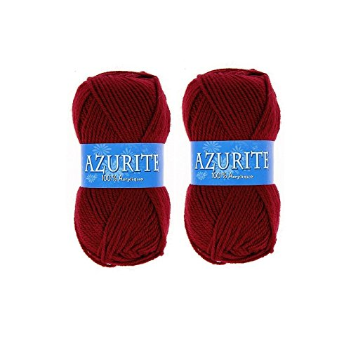 Lot 2 Pelotes de laine Azurite 100% Acrylique Tricot Crochet Tricoter - Rouge - 3025