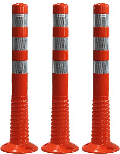 3 Stück UvV®-Reflex Absperrpfosten, Poller 75 cm hoch, flexibel orange, reflektierend, selbstaufrichtend (Orange)
