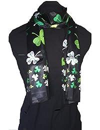 Big Black with green four leaf clover scarf thin pretty scarf