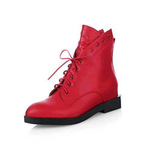 AgooLar Damen Mittler Absatz Blend-Materialien Niedrig-Spitze Rein Reißverschluss Stiefel Rot
