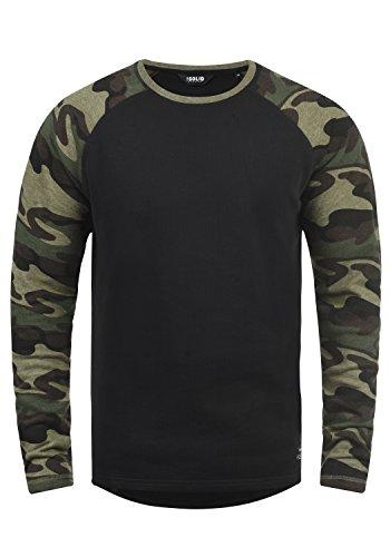 !Solid Cooper Herren Sweatshirt Pullover Pulli Baseball-Sweatshirt Mit Rundhals Und Camouflage-Ärmeln Aus 100{0e9164b708d862496a02a749dfeb976012caee5901c07f94534731130874f806} Baumwolle, Größe:L, Farbe:Black (9000)