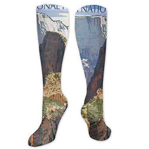 Nifdhkw Zion National Park - Angels Landing Men's/Women's Sensitive Feet Wide Fit Crew Socks and Cotton Crew Athletic Sock