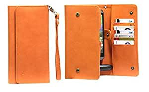 J Cover A13 Nillofer Leather Wallet Universal Phone Pouch Cover Case For Samsung Galaxy Beam 2 Orange