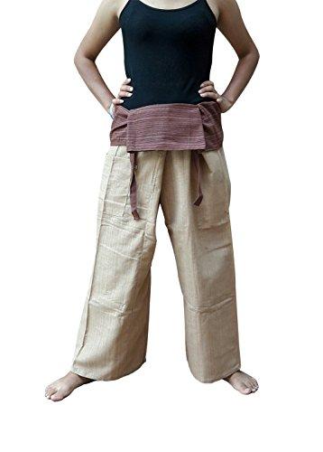 BTP 2tono pescatore tailandese pantaloni Yoga pantaloni cotone taglia unica 100% a righe senza/più colori, Khaki Brown FM3, Taglia unica