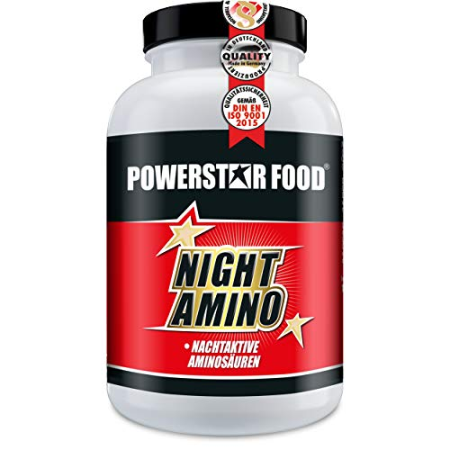 NIGHT AMINO - HOCHDOSIERT - Nachtaminosäuren L-ARGININ, L-ORNITHIN & L-LYSIN in freier kristalliner Form + Vitaminkomplex - 180 Kapseln - MADE IN GERMANY -