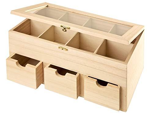 Leere Teebox aus Holz mit Schubladen und 4 Teebeutelkammern. Box für Decoupagetechnick