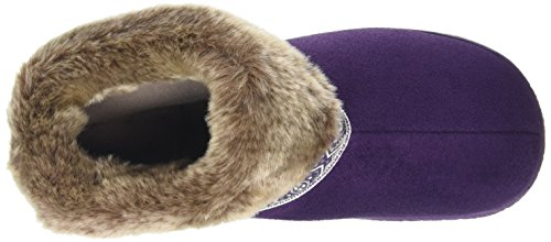 Isotoner Pillowstep Bootie With Fur Cuff And Tape Trim, Chaussons femme Violet - Violet