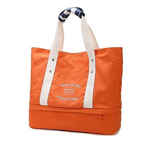 Q.KIM Große Kapazität Multifunktionale Leinwand Reisetaschen Wochenendtasche Einkaufstaschen Mama Handtasche Handgepäck Reisetasche mit Schuhfach,Grün Orange