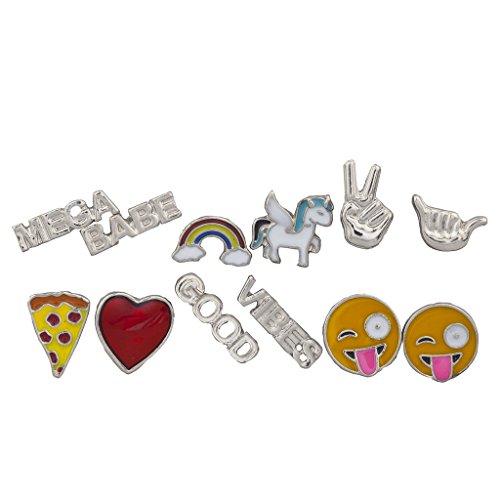 Regenbogen Peace Zeichen Hat (LUX Zubehör Silber Ton Emoji-Rainbow Verbiage Neuheit multi Ohrring Set)