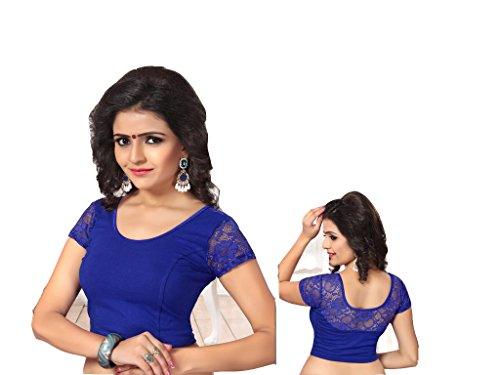 Fertige, Free Size Saree Blouse, Blusen, Bollywood, Sari, Goa, Indien, Hochzeit, Kleid, Oberteil, Party,107 (Blue) -