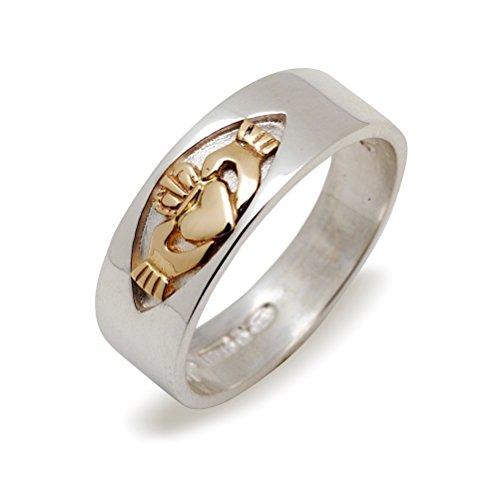 Keltische 7mm breit, Silber und gold, irische Claddagh Band ring. Größe 70 (Irische Claddagh-ring Für Männer)