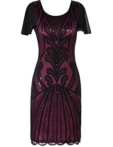 (kayamiya 1920er Jahre Flapper Kleider mit Ärmeln Pailletten Art Deco Cocktail Gatsby Kleid 46-48 Burgund)