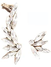 Happiness Boutique Damas Pendientes Ear Cuff Asimétricos con Cristales Claros | Ear Crawlers Llamativos en Oro Vintage Libres de Níquel