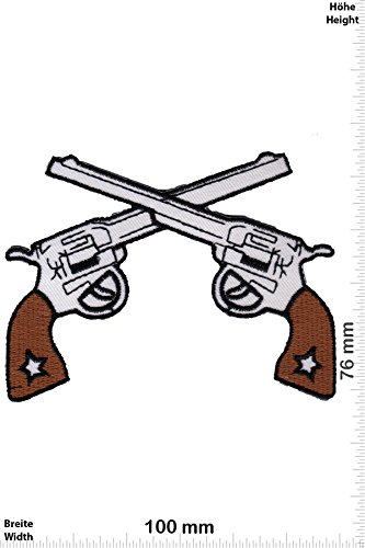 Patch - 2 Pistolen - two guns - Weapon - Waffen- Gewehr - Pistole - Gun - Weste - Patches - Aufnäher Embleme Bügelbild Aufbügler (Pistole Weste Patches)