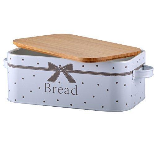 Brotkasten Brotbox Brotkiste Aufbewahrungsbox Brotbehälter Blech (Holzdeckel (Schleife))