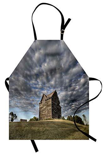 Bauernhaus-Schürze, verlassenes Land Saskatchewan Kanada bei Sonnenuntergang und Prärie-Ansicht Dunkler bewölkter Himmel, Unisex-Küchenschürze mit verstellbarem Hals für das Kochen Backen im Garten ()