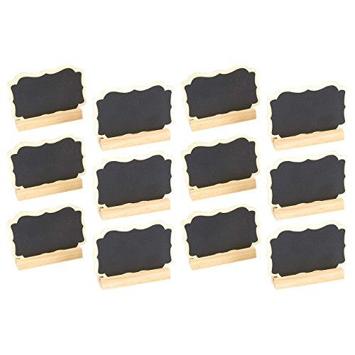 Set von 12Mini Kreidetafel Schilder mit Ständer–Tafel Tischkarte Nachricht Board für Hochzeiten, Tischplatte Zahlen, Lebensmittel Schilder, Kids 'Handwerk, und Event Dekoration, 8,9x 5,7x 1,6cm (Wein Glas Marker Set Mit 12)