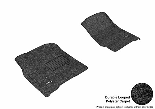 3d MAXpider Front Row Custom Fit Floor Mat for select / Silverado/Sierra double cab/Crew Cab/Suburban/Tahoe/Yukon XL/Yukon Models - Classic Carpet (Black)