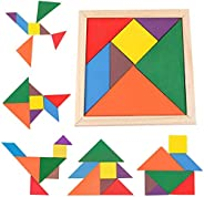 Samdone wooden Tangrams Puzzles, 7 Pieces Tangram Puzzle Book Set Toy Colorful for Children Educational Gift