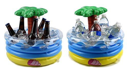 ucket von Palm Tree aufblasbare Kühlbox für Ihre Dekorationen-Kleine Bierkühler Mittelpunkt für Ihre Hawaii-Luau Party Bier Bucket, Ice Kühler, Tischplatte, aufblasbar. 11.9 x 14 x 1.8 inches after inflated Multicolored (blue yellow, green, red, clear) ()