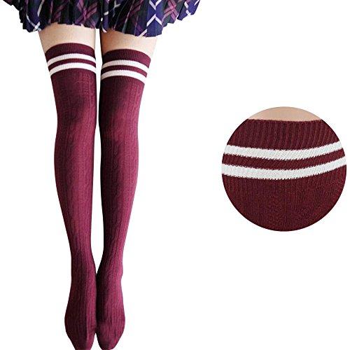Kostüm Mädchen Overknee Strümpfe Hiroo Frauen Schüler Elastische Strumpf Baumwolle Socken (Rot)