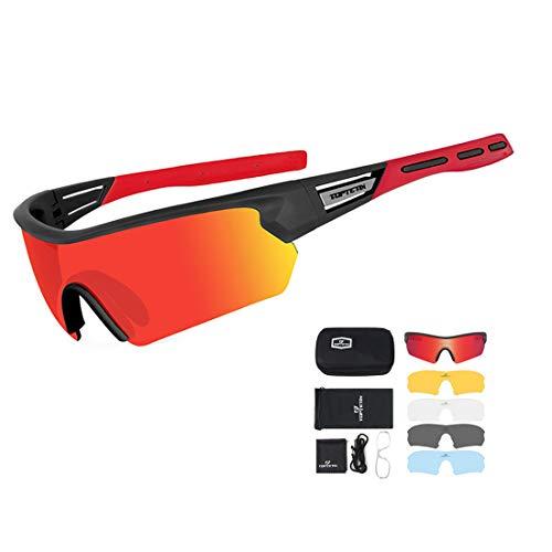 TOPTETN Gafas Ciclismo Polarizadas 5 Lentes