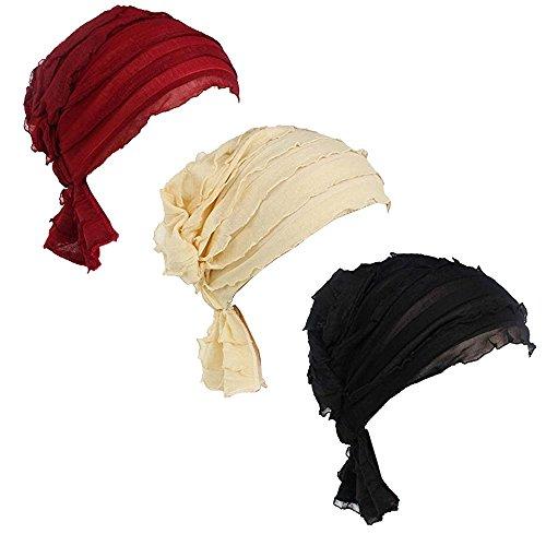 (Ever Fairy 3 Farben Packung Chemotherapie Krebs Kopf Schal Hut Kappe ethnisch Stoff Aufdruck Turban Kopfbedeckung Damen Damen Rüsche Beanie Schal - 3 Farben Pack-c2, One Size)