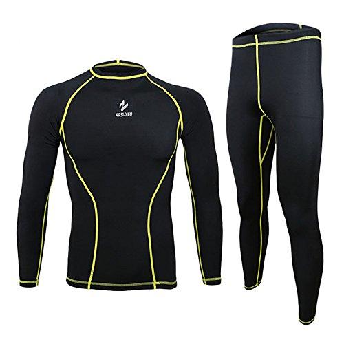 CZUP Uomo in bicicletta da corsa Quick Dry Baselayer vestito Maglia manica lunga + Pants UP-A025 Yellow L