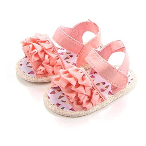 BZLine® Baby Krippe Schuhe Neugeborenen Blume Soft Sohle Anti-Slip Baby Sneakers Sandalen Pink