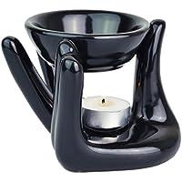 Piquaboo Black Ceramic Hand Oil Burner 10 cm Height + Tealight